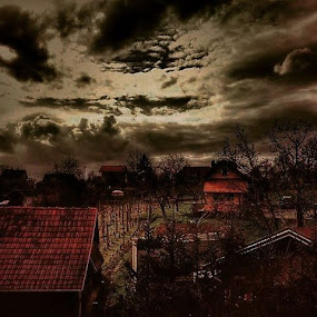 Before storm by Nat Bolfan-Stosic - Landscapes Cloud Formations ( clouds, sky, village, grey, storm )