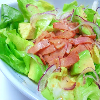 Lettuce and Avocado Salad with Japanese-Style Bacon Dressing