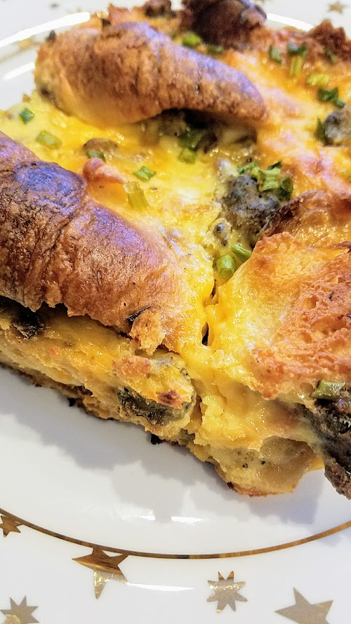 Recipe for Croissant Breakfast Casserole with egg, sausage, cheese, toasted croissant, easy to prep the night before and satisfies 8-10 people