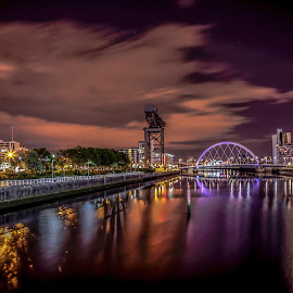 Glasgow clydeside  by Gordon Stewart - City,  Street & Park  Night ( scotland, clyde, glasgow, nightscape, city,  )