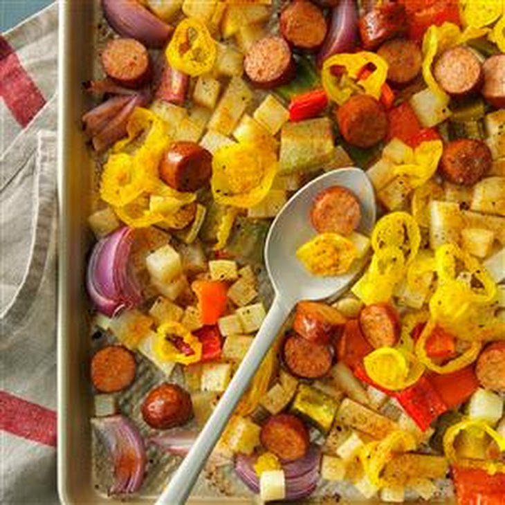 Spicy Roasted Sausage, Potatoes and Peppers Recipe | Yummly