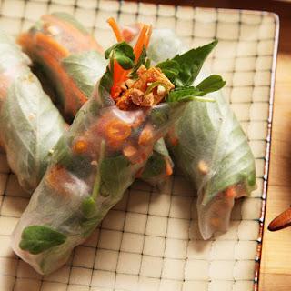 Easy Vegan Crispy Tofu Spring Rolls With Peanut-Tamarind Dipping Sauce