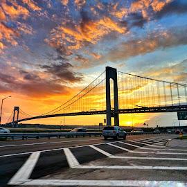 Verrazano Bridge sunset by Nicholas Mundy - Landscapes Sunsets & Sunrises ( sunset, statenisland, nyc, bridge )