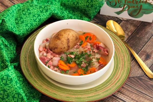 Traditional Irish Stew In A Bowl With Parsley.