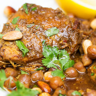 Slow Cooker Chicken Tagine with Apricots and Chickpeas.