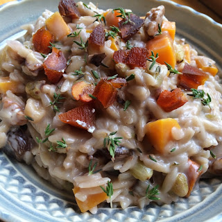Creamy Goat Cheese Orzo Risotto with Butternut Squash, Thyme and Walnuts