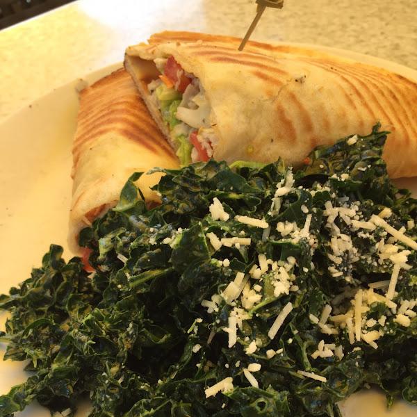GF Shaved Turkey Sandwich on GF Pita, Kale Salad