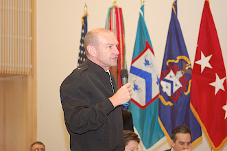 Photo: Brig. Gen. Ed Cardon, Deputy Commandant of the U.S. Army Command and General Staff College, Fort Leavenworth, interacts with questions and commentary during the summit.