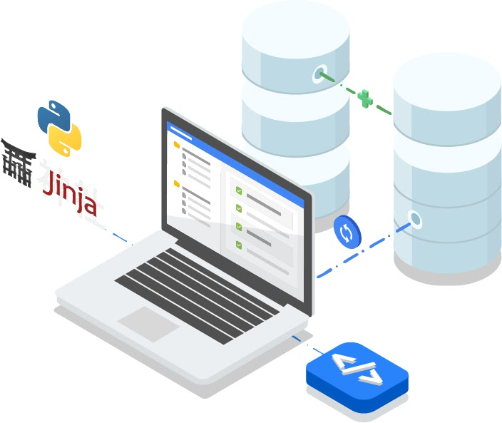 An open laptop with Jinja and Python logos on the left and a blue button with html markup code on the right. A blue dashed line leading away from laptop to a pair of databases. A continuous icon hovers over the blue line.