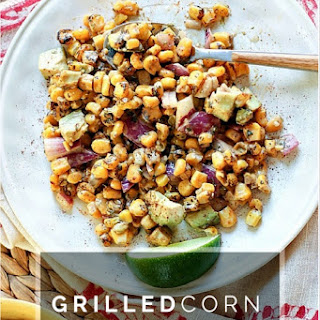 Grilled Corn Salad with Avocado with Lime Yogurt Dressing