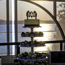 Batman Cake by Mary Withers Lawton - Wedding Reception ( cake, sunset, wedding )
