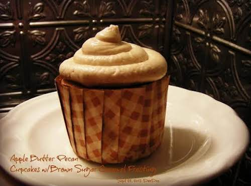"Apple Butter Pecan Cupcakes with Caramel Butter Cream ""Apple butter is a..."