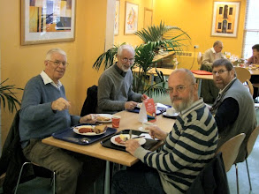 Photo: 001 Narrow gauge modelling enthusiasts are prepared to travel long distances at considerable expense nowadays to get to a show like Sparsholt. Leading by example in both commitment and modelling skills are my friends from the Dutch Group of the 009 Society, 4 of whom are pictured here enjoying a well deserved breakfast in the college restaurant after their long journey. Clockwise from the left: Dick van Beek, Ted Polet, Jaap Stuurman, Bert van Rhijn.