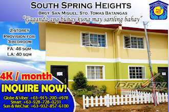 "Photo: #MurangPabahay   #PagIbigFinancing  or #InhouseFinancing   #MonthlyPayment  : 4K -5K Monthly Payment #ReservationFee : Php 5,000.00 (complete 2 Valid Id & Payslip or Remittance Slip)   ✔ SOUTH SPRING HEIGHTS SUBDIVISION Developer: Borland Development Corp. Location: Brgy San Miguel, Sto. Tomas, Batangas Status: Preselling, and First Batch is now on-going construction  Your Expected Move-in: 2 Years upon your date of Reservation  ✔ HOUSE SPECIFICATION: 2 Storey Townhouse Lot area: 40 sq.m Floor area: 46.60 sq.m Bare Type Finished, 2-3Bedrooms Provision, 1T&B  ✔ SAMPLE COMPUTATION: Batch 5, For Inner Unit  ⚫ OPTION 1: PAG-IBIG FINANCING Blk 10, Lot 3 TCP: Php 692,304.00 Reservation Fee: Php 5,000.00 Estimated Loan Value: Php 620,000.00 Gross Equity: Php 72,304.00 or 15 Monthly Equity Payments: Php 4,486.93  Estimated Monthly Amortization @ 6.5% P.A. (At Maximum Terms, and yet you may change it depends on your plan and your proof of income) 30Years: Php 3,918.82 / m.a.  ⚫ OPTION 2: IN-HOUSE FINANCING and to follow upon request  Note:  * TCP depends on Block and Lot  ** Your Final Computation will be given to you only at the Sales Office and after you completed your reservation * Exclusive of MRI & FI  ✔ INITIAL REQUIREMENT (THAT YOU MAY BRING IT DURING TRIPPING COMPLETE WITH RESERVATION FEE): ⚫ Photocopy of Your Two (2) Valid ID (like: passport, driver's license, company id, TIN, SSS, PRC ID)  ⚫ Proof of Income, like: Payslip, Job Contract, Remittance Slip or Bank Statement ⚫ P5K Reservation Fee  ✔ PAGIBIG REQUIREMENTS TO BE SUBMITTED WITHIN 30 DAYS UPON THE DATE OF YOUR RESERVATION ⚫ Balance on Proof of Identity, like: Birth Cert or Marriage Certificate (if married), 1 x 1 ID Pictures, Married Couple to submit both Two (2) Valid IDs,  ⚫ Balance on Proof of Income, like: For Local Earners ITR is required, Employment Certificate with Compensation,  ⚫ Proof of Billing, any of the following: Barangay Certificate, Phone Bill, Electric or Water Bill, etc. ⚫ Twenty-Four (24) months updated PagIbig Contribution Certificate ⚫ ESAV & MSVS ⚫ Post Dated Check (PDC) to be issued to the Developer for monthly equity payment or monthly downpayment ⚫ For OFW, Consularized Special Power of Attorney ⚫ Other related requirement as per Developer Checklist   ✔ TOWNHOUSE DELIVERABLE (TURN OVER) ⚫ 2 Storey Townhouse ⚫ Roofing: Long Span Colored Roofing ⚫ Interior Wall: Plain Cement Finished ⚫ Windows: Steel casement with Built In Grills ⚫ Doors: Steel Door for your Main Entry, Wooden Door at your Rear Entry and PVC Door for your T&B Entry ⚫ Flooring: Plain Cement Finished for both Ground Floor and Second Floor ⚫ T&B Flooring & Wall: Fitted with Unglazed Tiles, 8"" x 8' size ⚫ Stairs: Stringers and Treads are made of Wood along with Steel Handrail ⚫ Kitchen Area: Plain Cement Finished with Stainless Steel Sink ⚫ Ceiling: Ficem Board Ceiling ⚫ T&B Fixtures: Flush Water Closet with Lavatory With Shower Head  ✔ PROJECT HIGHLIGHTS ⚫ Near Schools ⚫ Near Churches ⚫ Near Transport Terminals ⚫ 24 hours Security ⚫ Gated Community  Call Office Hotline for your immediate free tripping and reservation, anytime:  Globe / Viber: +63-915-200-4978 Smart: +63-928-728-0231 Sun / Wechat +63-932-857-6100  HOMEPAGEs:  http://ofwhousingguide.blogspot.com/ http://metromanila-houseandlot-townhouse.blogspot.com/ http://renttoownguidephilippines.blogspot.com/; http://murangpabahaybatangas.blogspot.com/; http://luminalipacity.blogspot.com/;  http://pabahaymokabayanbatangas.blogspot.com/; http://houseandlotbatangas.blogspot.com/; http://sentrinalipacity.blogspot.com/;  & http://sentrinahouseandlotlipacity.blogspot.com/  FACEBOOK Pages:  www.facebook.com/renttoownpilipinas; www.facebook.com/camellahomes.vanss;  https://www.facebook.com/LipatAgadPromo; https://www.facebook.com/SentinaOfficialPageLipaCity Twitter Account: www.twitter.com/van_a001  Contact us on ‪#‎Facebook‬, add & PM us  Ms. Noreen: www.facebook.com/1205noreen  Mr. Van: www.facebook.com/van.amada"