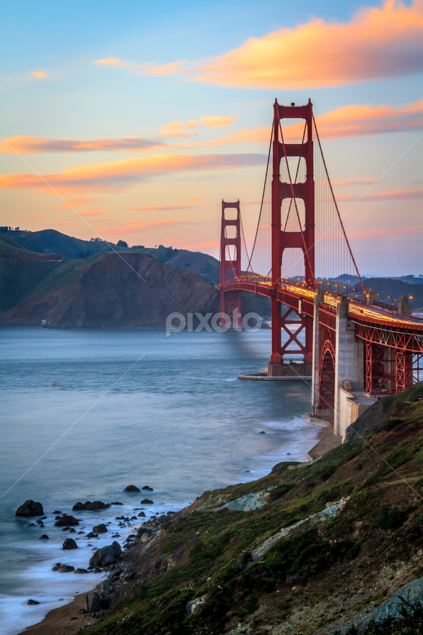 Golden Gate Sunset by Paul Judy - Buildings & Architecture Bridges & Suspended Structures ( california, sunset, twilight, golden gate, bridge, san francisco )