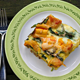 Sausage, Squash and Spinach Egg Casserole.