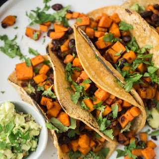 Chipotle Sweet Potato Tacos with Black Beans and Guacamole