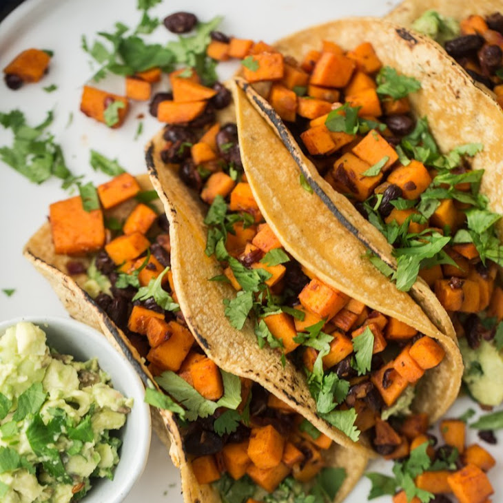 Chipotle Sweet Potato Tacos with Black Beans and Guacamole Recipe ...
