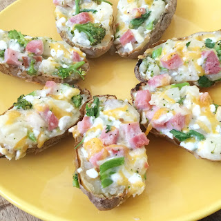 Broccoli & Ham Double Stuffed Potatoes