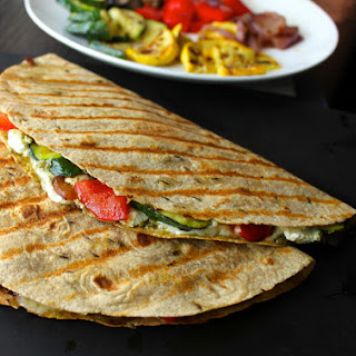 Grilled Vegetable Quesadillas with Goat Cheese and Pesto.