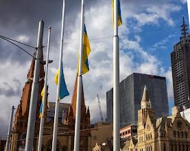Photo: Ukrainian flags against a Melbourne skyline