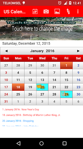 US Calendar 2016