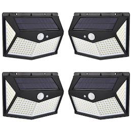 Set 4 x lampa solara 212 LED, senzor de miscare, 3 moduri de functionare