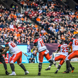 Finding A Hole In Defence by Garry Dosa - Sports & Fitness American and Canadian football ( sports, teams, city, players, professionals, night, cfl, black, football, lighting, people, red, throwing, orange, number, white, indoors, action, stadium, sport )