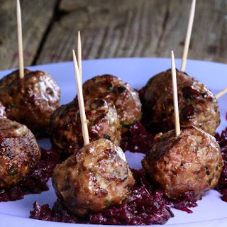 Richard Blais' Goulash Meatballs with Red Cabbage Marmalade.