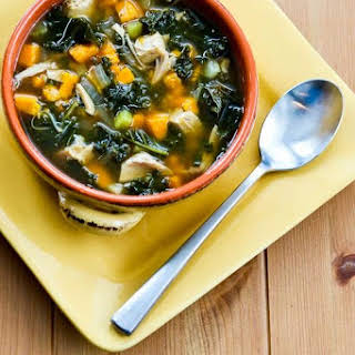 Slow Cooker Turkey (or Chicken) Soup with Kale and Sweet Potatoes.