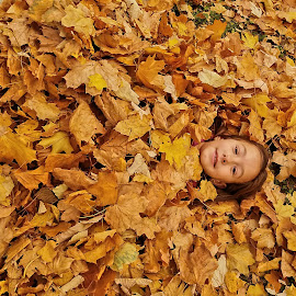 by Gino Libardi - City,  Street & Park  City Parks ( child, autumn leaves, autumn, children, child portrait, autumn colors )