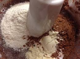 Add the cocoa, sugar, powdered milk (whichever kind you're using), salt, and cornstarch to...
