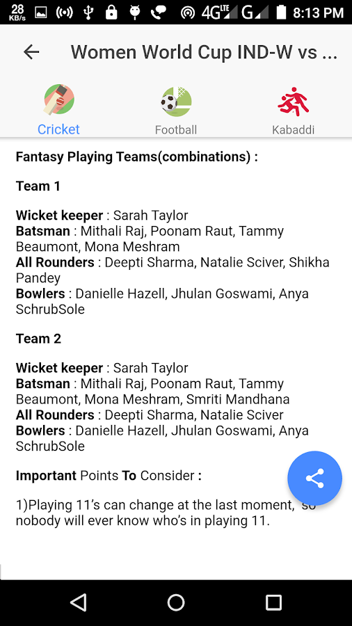 All Dream 11 Predictions Pro(Dream11, Halaplay)- screenshot