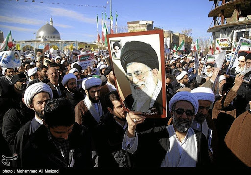 People take part in pro-government rallies in Iran on January 3 2018. Picture: TASNIM NEWS AGENCY/HANDOUT VIA REUTERS