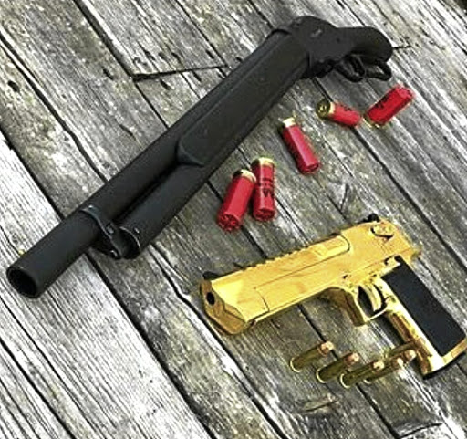A sawn-off shotgun and a gold plated handgun on an Instagram page that appears to be that of Jacinto.