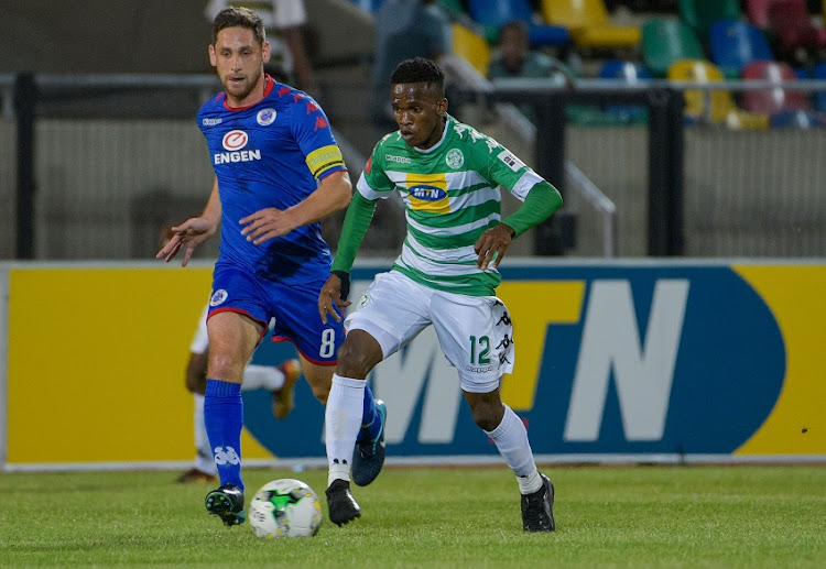 Kabelo Mahlaselaof Bloemfontein Celtic and Dean Furman of SuperSport United during the Absa Premiership 2017/18 game between Bloemfontein Celtic and SuperSport United at Dr Molemela Stadium in Bloemfontein on 20 December 2017.
