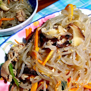 Korean Sweet Potato Noodles with Sliced Pork (Japchae).