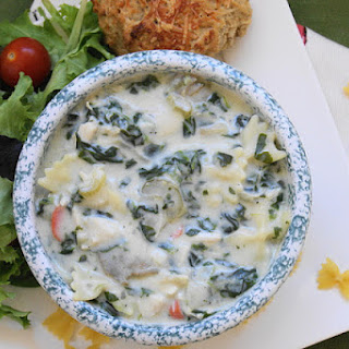 Creamy Chicken Noodle Soup with Brie, Spinach & Artichokes.