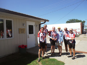 Photo: Day 28 Murdo to Chamberlain SD 95 miles 3600' climbing: Ann Arnoldy, who directed us to community center at Kennebec, home town to Tom Meyers of Voyagers, and had lunch with us