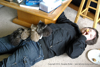 Photo: The little ones camped out on Nathaniel.  He didn't want to distrub their slumber, so had lunch on the floor.