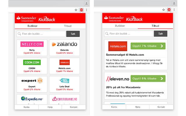 KickBack fra Santander knappen