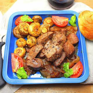 Sauteed Sirloin Tips with Mushrooms.