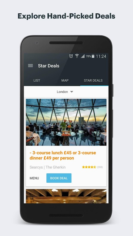 Bookatable Restaurant Finder: screenshot