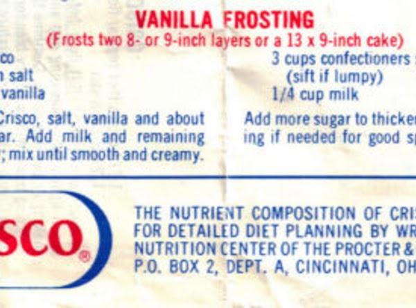 Crisco Vanilla Frosting Recipe
