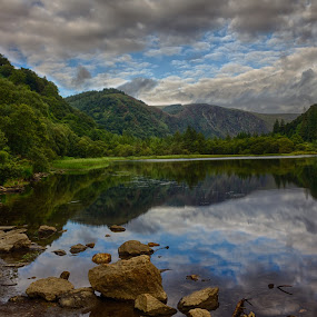 Moody Clouds over the Lower Lake by Vaidotas Maneikis - Landscapes Mountains & Hills ( wicklow, ireland, glebdalough, mounains, lake, , renewal, green, trees, forests, nature, natural, scenic, relaxing, meditation, the mood factory, mood, emotions, jade, revive, inspirational, earthly, relax, tranquil, tranquility )