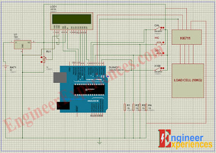 Complete Circuit Diagram of Arduino based Digital Weight Scale