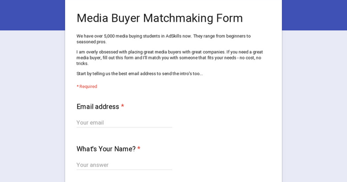 matchmaking forms