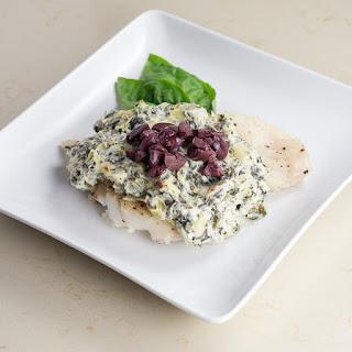 Cod With Spinach Artichoke Spread.