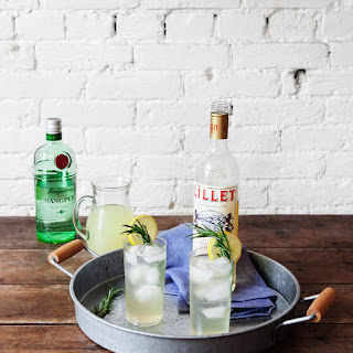 Ginger Lemonade Collins with Lillet + Rosemary
