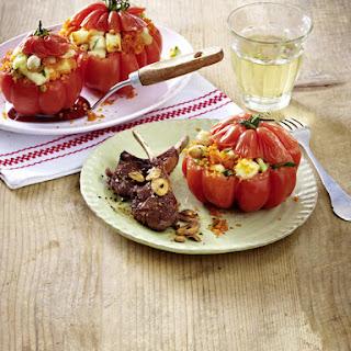 Lamb Chops with Stuffed Tomatoes.